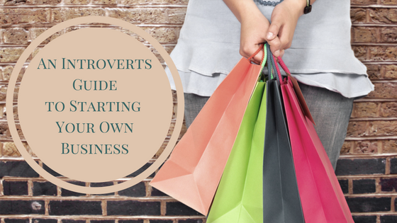 Woman holding colorful shopping bags standing next to An Introverts Guide to Starting Your Own Business printed inside a circle