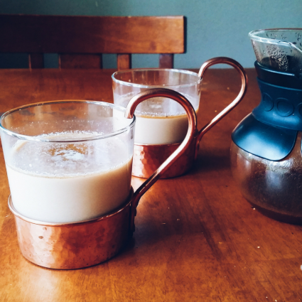 Chia Coffee Latte in copper glass mugs